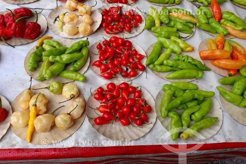 Diferentes tipos de pimenta à venda na feira da Glória - Rio de Janeiro - Rio de Janeiro (RJ) - Brasil