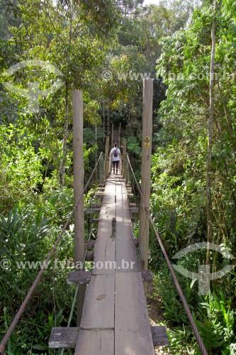 Ponte de madeira sobre o Rio Preto - divisa dos estados de Rio de Janeiro e Minas Gerais - Resende - Rio de Janeiro (RJ) - Brasil