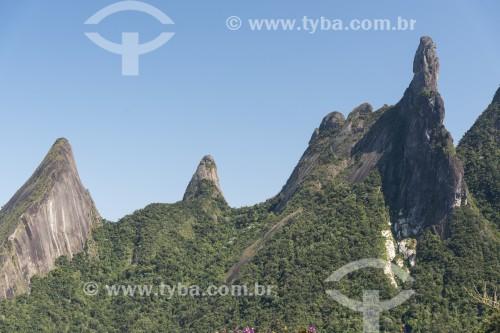 Vista do dos picos do Escalavrado, Dedo de Nossa Senhora, Dedo de Deus e Cabeça de Peixe a partir do Mirante do Soberbo no Parque Nacional da Serra dos Órgãos  - Teresópolis - Rio de Janeiro (RJ) - Brasil