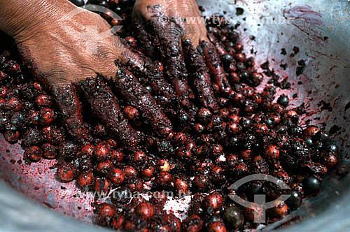 Detalhe de mãos amassando açaí - Fruta do Norte - Brasil