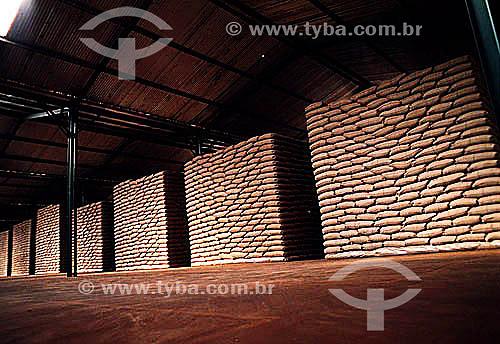 Grãos de café armazenados em sacos para exportação - Brasil
