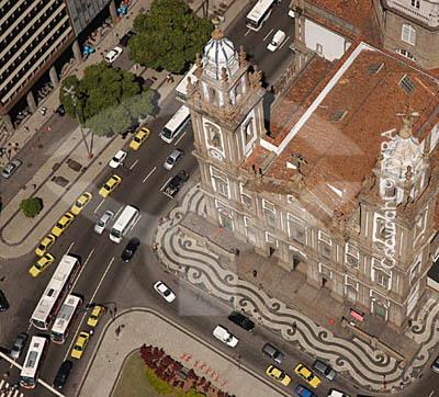 Vista aérea da Igreja Nossa Senhora da Candelária , mostrando uma parte da Praça Pio X - Centro do Rio de Janeiro - RJ - Brasil  A igreja é Patrimônio Histórico Nacional desde 14-04-1938. obs.: foto digital  - Rio de Janeiro - Rio de Janeiro - Brasil