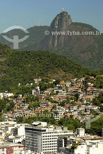 Cristo - Morro da babilônia - Prédios do Leme - Rio de Janeiro - RJ - Brasil  - Rio de Janeiro - Rio de Janeiro - Brasil