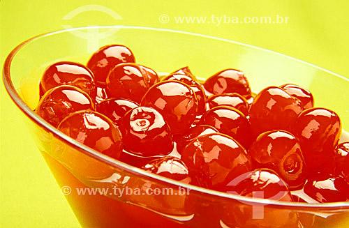 Culinária - Doce - cerejas em taça