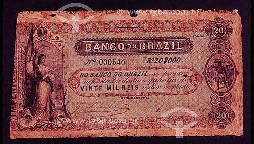 Dinheiro - Cédula de vinte mil Réis (20.000), antiga moeda brasileira