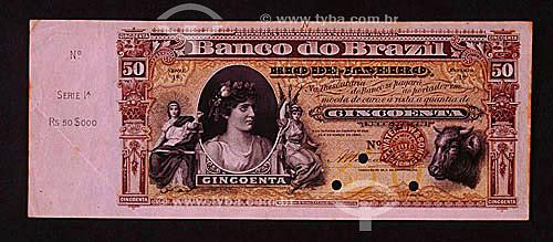 Dinheiro - Cédula de cinqüenta mil Réis (50.000) - 1890