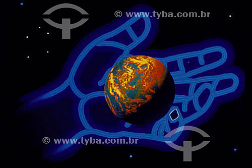 Computação gráfica: mão com globo terrestre