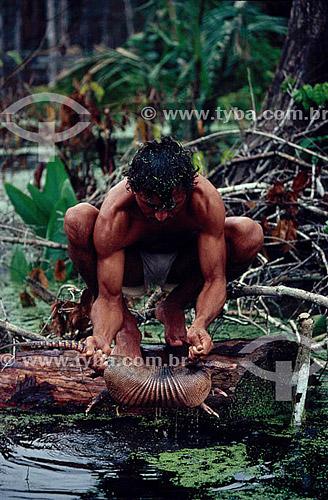 Ambiental - Homem resgatando animais (tatu) na inundação da construção da Hidrelétrica Balbina - AM - Brasil  - Presidente Figueiredo - Amazonas - Brasil