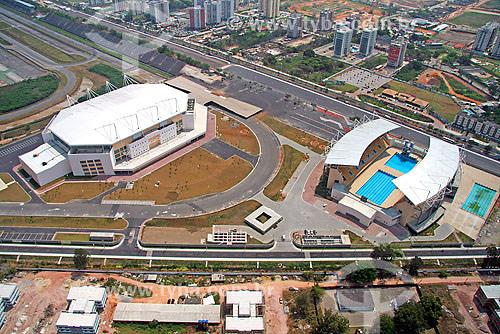 Vista aérea da Arena Multiuso e do Parque Aquático Maria Lenk - Complexo do Autódromo - Jacarepagua - Rio de Janeiro - RJ - Brasil - Setembro de 2007  - Rio de Janeiro - Rio de Janeiro - Brasil