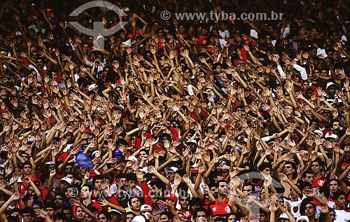 Torcida do Flamengo no Maracanã (Estádio Jornalista Mario Filho) - Rio de Janeiro - RJ - Brasil  - Rio de Janeiro - Rio de Janeiro - Brasil