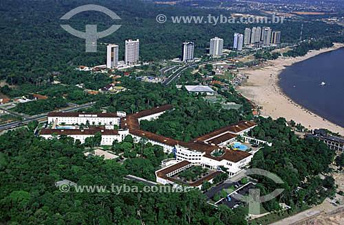 Imagem aérea do Hotel Tropical - prédios e Praia da Ponta Negra - Rio Negro - Manaus - AM - outubro de 2001.  - Manaus - Amazonas - Brasil