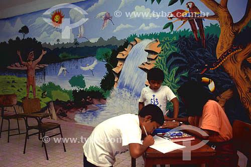 Educação - Alfabetização de índios - São Gabriel da Cachoeira - Rio Negro - AM - Amazônia - Brasil  - São Gabriel da Cachoeira - Amazonas - Brasil