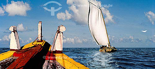 Saveiros no mar de Salvador - BA - Brasil  - Salvador - Bahia - Brasil