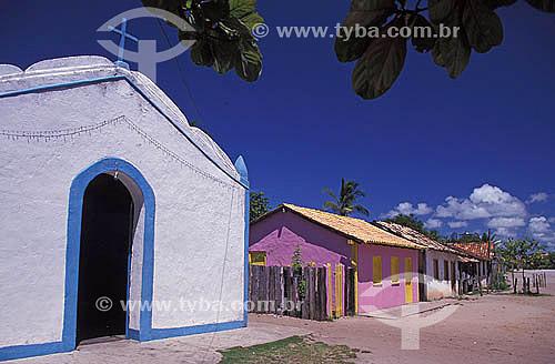 Igreja de São Sebastião - vila em Caraíva - Bahia - Brasil  - Porto Seguro - Bahia - Brasil