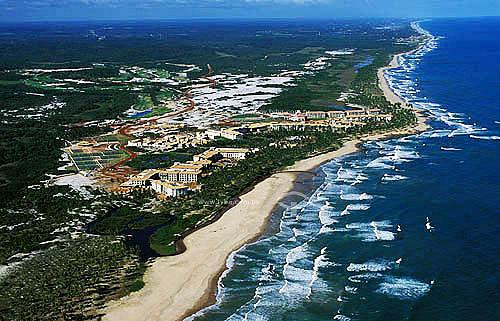 Vista aérea do Resort Porto Sauípe - Praia do Forte - Linha Verde - Costa dos Coqueiros - norte da Bahia  - Mata de São João - Bahia - Brasil