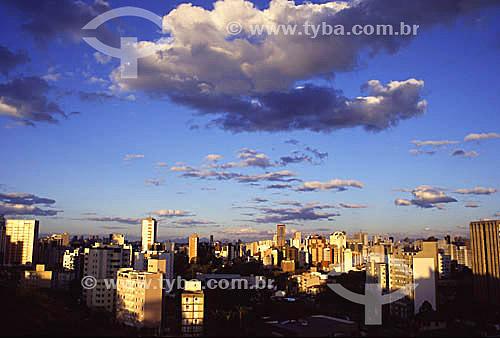 Vista de Curitiba  - Bairros Bigorrilho e centro (ao fundo) Paraná - Brazil - 2002  - Curitiba - Paraná - Brasil