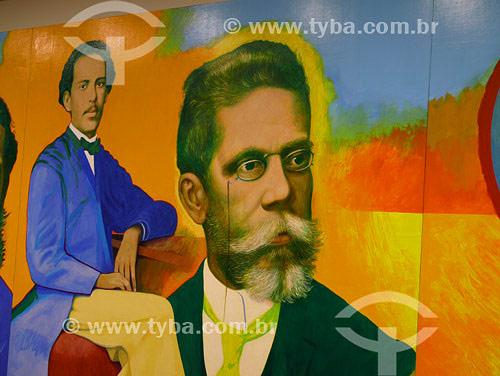 Painel sobre Machado de Assis de autoria de Glauco Rodrigue (2000) localizado no Espaço Machado de Assis - Acervo Academia Brasileira de Letras (ABL) - Rio de Janeiro - RJ - Brasil. Data: Fevereiro 2008