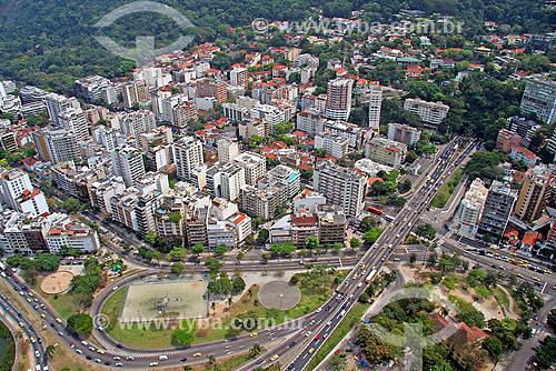 Vista aérea de prédios na Lagoa, entrada do Túnel Rebouças no lado direito - Rio de Janeiro - RJ - Brasil - Setembro de 2007  - Rio de Janeiro - Rio de Janeiro - Brasil