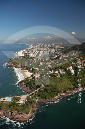 Vista aérea do clube Costa Brava (em primeiro plano) e as Praias da Joatinga e da Barra ao fundo - Rio de Janeiro - RJ - Brasil  foto digital  - Rio de Janeiro - Rio de Janeiro - Brasil