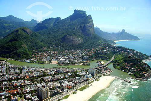 Vista aérea do Quebra-mar e do Joá com Pedra da Gávea ao fundo - Barra da Tijuca - Rio de Janeiro - RJ - Brasil - Novembro de 2006  - Rio de Janeiro - Rio de Janeiro - Brasil