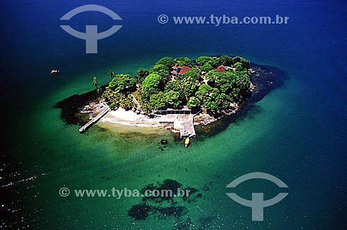 Vista aérea de mansão em ilha de Angra dos Reis - Costa Verde - RJ - Brasil  - Angra dos Reis - Rio de Janeiro - Brasil