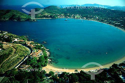 Vista aérea da Praia da Ferradura - Búzios - Costa do Sol - Região dos Lagos - RJ - Brasil  - Armação dos Búzios - Rio de Janeiro - Brasil