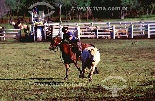 Gaúcho em dia de torneio de laçada - Sítio Paraíso - Santo Angelo - RS - Brasil  - Santo Ângelo - Rio Grande do Sul - Brasil