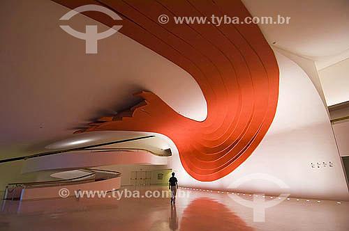 Escultura de Tomie Ohtake no interior do Auditório Ibirapuera - Parque do Ibirapuera - Projeto de Oscar Niemeyer - São Paulo - SP - Brasil - Fevereiro 2006  - São Paulo - São Paulo - Brasil