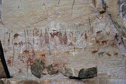 Pinturas Rupestres no Sitio Arqueológico Vão Grande - Serra do Lajeado  - Palmas - Tocantins - Brasil