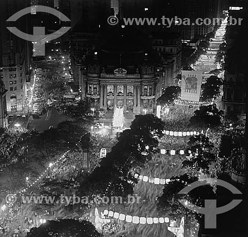 Foto histórica do desfile geral do carnaval na Av. Rio Branco - Rio de Janeiro - RJ - Brasil  - Rio de Janeiro - Rio de Janeiro - Brasil