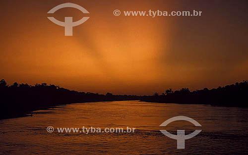 Entardecer no Rio Purus - Amazônia - Brasil