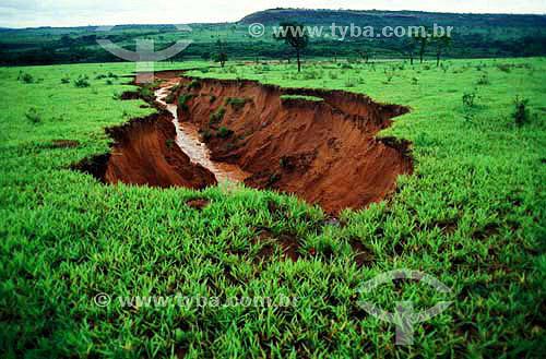 Erosão - Voçoroca - no Parque Nacional do Pantanal Matogrossense  - Poconé - Mato Grosso - Brasil