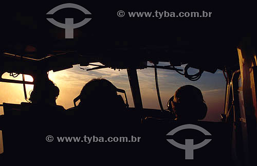 Interior de cabine de avião