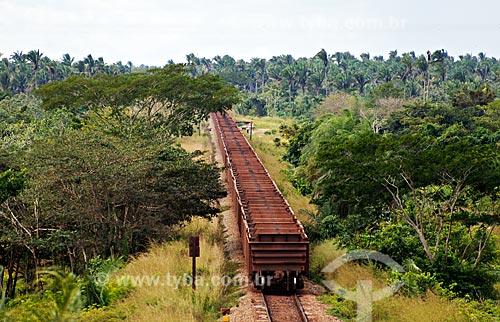 Assunto: Trem transportando ferro gusa na Estrada de Ferro Carajás / Local: Entre Ararí e Miranda do Norte - MA / Data: 08/2008