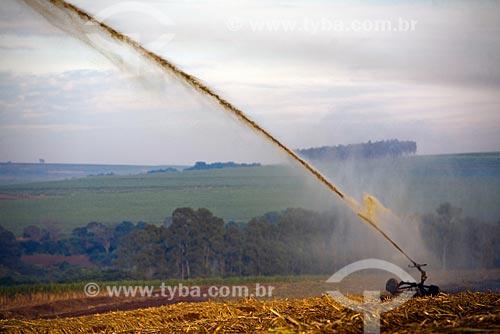 Assunto: Irrigação de cana-de-açúcar recém cultivada. Usina de Etanol e Açúcar São Martinho / Local: Pradópolis - Ribeirão Preto - SP - Brasil / Data: Maio 2008