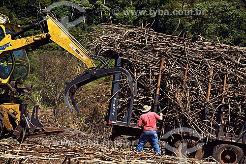 Assunto: Maquinaria fazendo colheita e carrregando caminhão para transporte ao moinho para produção de etanol e açúcar / Local: região da cidade de Bocaina - SP - Brasil / Data: Maio 2008