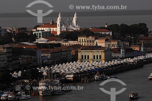 Assunto: Vista aérea do centro histórico com Solar da Beira, Mercado Ver-o-peso, Igreja da Sé e Baía de Guajará ao fundo / Local: Belém (PA) / Data: 12 de Outubro de 2008