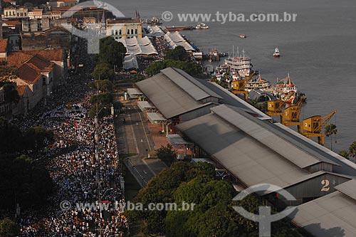 Assunto: Vista aérea da Procissão do Círio de Nazaré no centro histórico próximo ao porto / Local: Belém (PA) / Data: 12 de Outubro de 2008