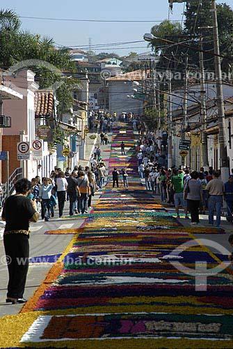 Assunto: Decoração das ruas para procissão de Corpus Christii em Santana de Paranaíba / Local: Santana de Paranaíba (SP) / Data: 07 de Junho de 2007