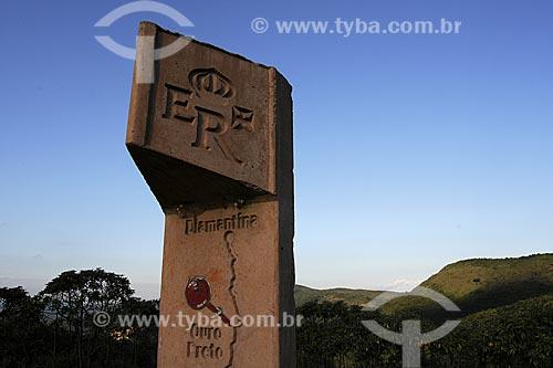 Assunto: Totem sinalizador da Estrada Real ou Caminho do Ouro   / Local: Barão de Cocais  - Minas Gerais (MG) - Brasil / Data: 22/04/2009