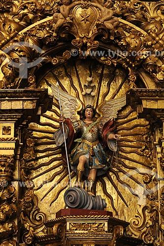 Assunto: São Miguel (folheado a ouro) Igreja Nossa Senhora da Boa Viagem / Local: Itabirito - Minas Gerais - Brasil / Data: 18-04-2009