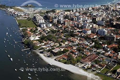 Assunto: Vista aérea da Praia do Forte e do Canal do Itajuru / Local: Cabo Frio - RJ - Brasil / Data: 06/2008