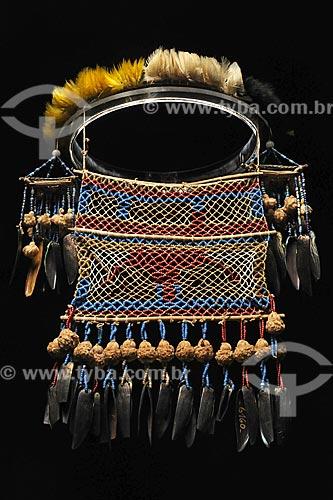 Ornamento - Cordas radiais usadas pelas mulheres índias na cerimônia do Turé - Povos indígenas do Oiapoque, vivem na fronteira do Brasil com a Guiana Francesa: Karipuna; Galibi; Galibi-marworno; Palikur - Museu do Índio - Uso educacional  - Rio de Janeiro - Rio de Janeiro - Brasil
