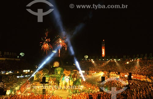 Assunto: Festival Folclórico de Parintins - Onça gigante na apresentação do boi Garantido / Local: Parintins - Amazonas (AM) - Brasil / Data: Julho de 2005