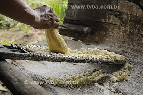 Assunto: Mandioca sendo ralada manualmente para producao de farinha / Local: Territorio quilombola de Santa Maria do Traquateua - Moju - Pará - Brasil / Data: 02-04-2009