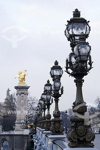 Assunto: A Ponde Alexandre III é uma ponte em arco que cruza o rio Sena, conectando o Champs-Élysées, ao Invalides e à Torre Eiffel  / Local:  Paris - França  / Data: 27/01/2009