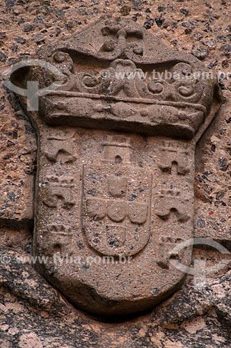 Assunto: Detalhe do Brasão da Coroa Portuguesa no Portón de Campo (Portal da Cidade)  / Local:  Bairro Histórico de Colônia do Sacramento - Uruguai - América Latina  / Data: 13/03/2010