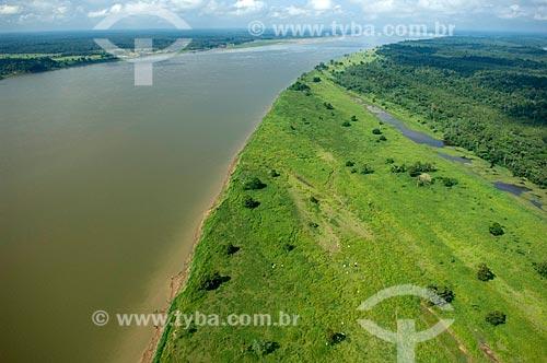 Assunto: Margem direita do rio Madeira, mostrando águas verdes por eutrofização durante a seca - Perto de Nova Olinda do Norte  / Local:  Amazonas (AM) - Brasil  / Data: 11/2007
