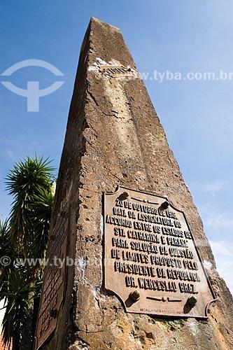 Assunto: Marco das Três Fronteiras inaugurado em 1903, indicando a divisa entre Santa Catarina, Paraná e Argentina / Local: Dionísio Cerqueira - Santa Catarina - Brasil / Data: 02/2010