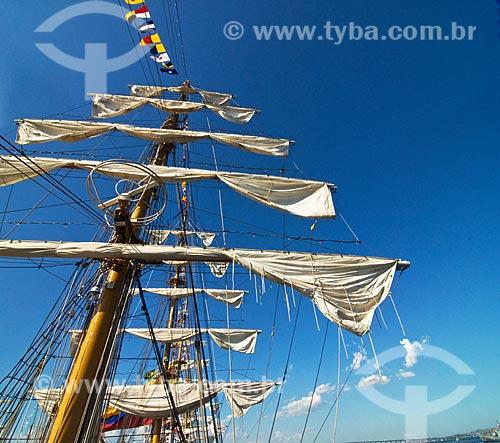 Assunto: Velas recolhidas do veleiro colombiano Gloria durante exposição de Grandes Veleiros, no Píer Mauá  / Local: Rio de Janeiro - RJ - Brasil  / Data: Fev. 2010